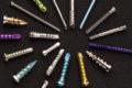 various colorful bone screws